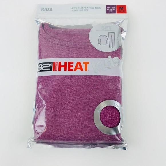 32 Degrees Heat Kids Baselayer Longsleeve Crew Neck Set 8//10 Medium Black
